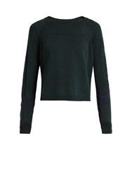 Lndr Ace Cropped Wool Blend Performance Sweater Dark Green