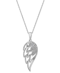 Macy's Diamond Wing Pendant Necklace In 10K White Gold 1 5 Ct. T.W.