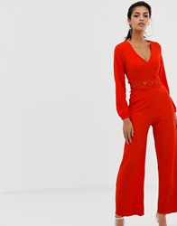 Ax Paris Long Sleeve Jumpsuit With Belt Detail Red