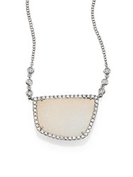 Meira T White Druzy Diamond And 14K White Gold Pendant Necklace