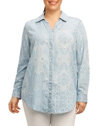 Foxcroft Plus Printed Long Sleeve Shirt Bluewash