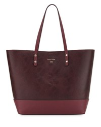 Cole Haan Beckett Snake Embossed Leather Tote Bag Red