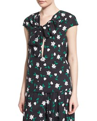 Carolina Herrera Cap Sleeve Floral Print Blouse Green White Women's