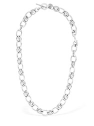 Philippe Audibert Byron Short Brass Chain Necklace Silver