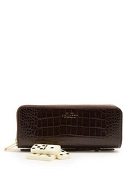 Smythson Mara Leather Dominoes Set Brown
