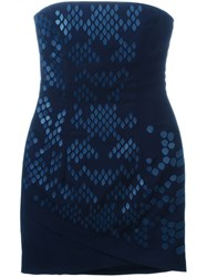 Jay Ahr Strapless Mini Dress Blue