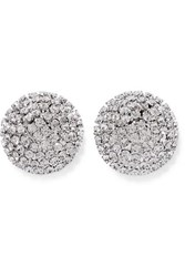 Alessandra Rich Oversized Silver Tone Crystal Earrings One Size
