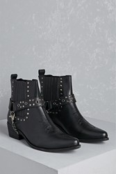 Forever 21 Y.R.U. Studded Leather Booties Black