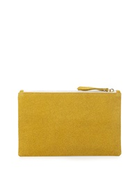 Lauren Merkin Medium Zip Top Bead Encrusted Clutch Yellow