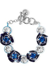 Shourouk Silver Tone Crystal And Sequin Bracelet Blue