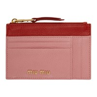 Miu Miu Pink And Red Two Tone Zip Card Holder