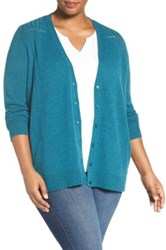 Sejour Wool And Cashmere V Neck Cardigan Plus Size Blue