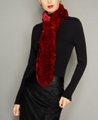 The Fur Vault Knitted Chinchilla Scarf Red