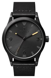 Men's Triwa 'Sort Of Black' Leather Strap Watch 38Mm