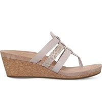 Ugg Maddie Strappy Leather Wedge Sandals Beige Comb