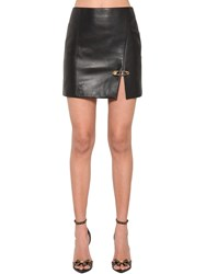 Versace Safety Pin Nappa Leather Mini Skirt Black