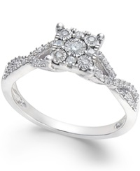 No Vendor Princess Cut Diamond Promise Ring 1 4 Ct. T.W. In Sterling Silver
