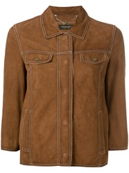 Twin Set Button Up Suede Jacket Brown