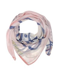 Vivienne Westwood Light Pink And Navy Blue Foul Flash Orbs Print Silk Wrap
