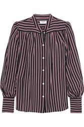 Frame Chloe Striped Silk Shirt Navy