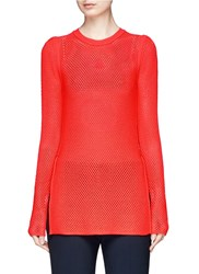 Proenza Schouler Open Mesh Knit Long Sleeve Top Red