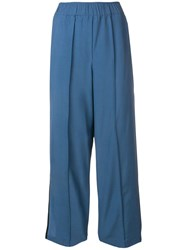 Alysi Contrast Trim Cropped Trousers Blue