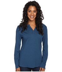 Royal Robbins Go Everywhere Henley Phoenix Blue Women's Long Sleeve Pullover