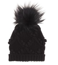 Dolce And Gabbana Fur Embellished Cashmere Hat Black