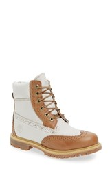 Timberland Women's Brogue Top Shelf Collection Waterproof Boot Tan Waterproof Nubuck Leather