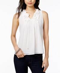 Tommy Hilfiger Ruffled Shell Only At Macy's Ivory