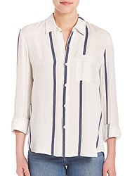 Peserico Le Striped Silk Shirt Nude Summer