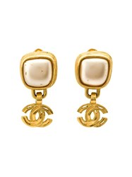 Chanel Vintage Logo Drop Clip On Earrings Metallic