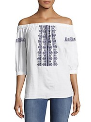 Beach Lunch Lounge Cotton Embroidered Off The Shoulder Top White With Blue