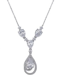 Eliot Danori Silver Tone Crystal Teardrop And Pave Drama Necklace