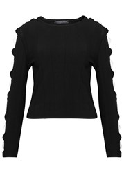 Alexander Mcqueen Black Bow Embellished Stretch Knit Jumper Black And White