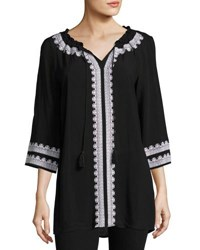 Neiman Marcus Embroidered 3 4 Sleeve Tunic Black White