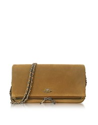 Zadig And Voltaire Cumin Suede Foldable Rock Clutch Beige