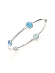 Ippolita Rock Candy Larimar Milky Aquamarine Blue Topaz And Sterling Silver Five Stone Station Bangle Bra