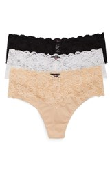 Cosabella Plus Size Women's 'Lovelie' Lace Trim Thong Black White Blush