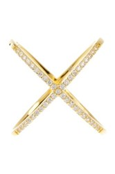 Sterling Forever 14K Yellow Gold Plated Sterling Silver Cz Crisscross Ring Metallic
