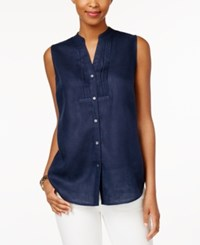 Charter Club Petite Linen Sleeveless Shirt Only At Macy's Intrepid Blue