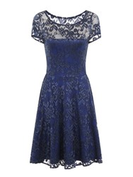 Hotsquash Lace Fit N Flare Dress With Thermal Lini Navy