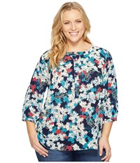 Nydj Plus Size Solid 3 4 Sleeve Pleat Back Mediterraneo Bloom Dark Atlant Women's Long Sleeve Button Up Multi