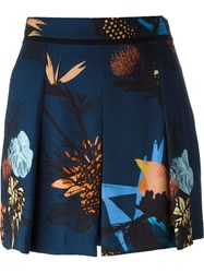 Proenza Schouler Floral Print Pleated Shorts Blue