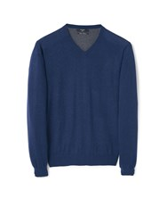 Mango Ten Cotton Cashmere Blend Sweater Navy