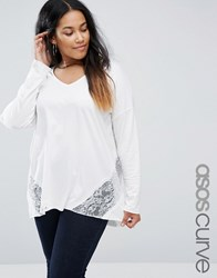 Asos Curve Top With Lace Panels And Long Sleeve In Oversized Fit Cream