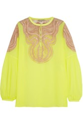 Emilio Pucci Neon Lace Paneled Silk Blend Chiffon Blouse Bright Yellow