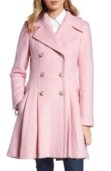 Guess Petite Women's Double Breasted Wool Blend Coat Pale Pink