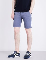 Boss Slim Fit Mid Rise Cotton Shorts Open Blue