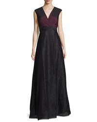 Kay Unger New York Sleeveless Embellished Evening Gown Wine Red